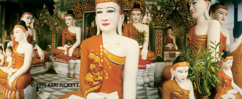 Buddhas at Schwedagon Pagoda, Yangon, Myanmar (Burma) 1995